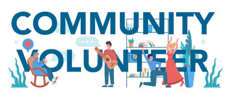 Social volunteer typographic header. Charity community support