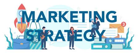 Marketing strategy typographic header. Advertising and marketing Ilustração
