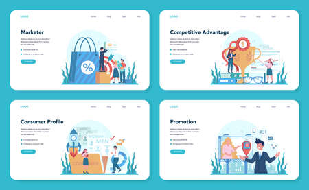 Marketer web banner or landing page set. Advertising and marketing
