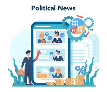 Politician online service or platform set. Idea of election