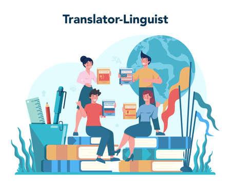 Translator and translation service concept. Polyglot translating Vektorgrafik