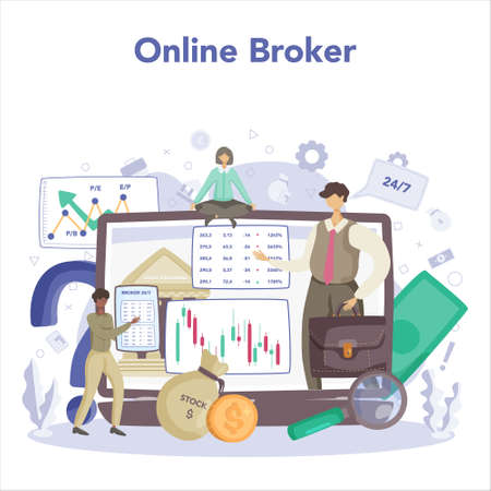 Financial broker online service or platform. Income, investment 일러스트