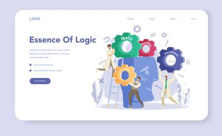 Essence of logic web banner or landing page set. Scientist