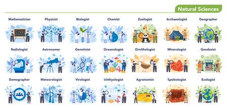 Natural scientist profession set illustration. Idea of scientific
