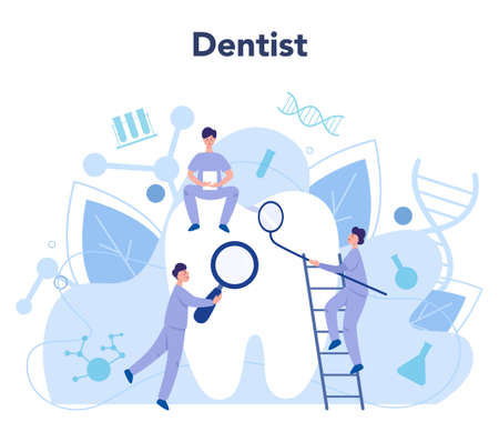 Dentist profession. Dentists in uniform treat tooth using medical