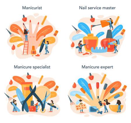 Manicurist service concept set. Beauty salon worker. Nail treatment