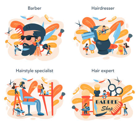 Barber concept set. Idea of hair and beard care. Scissors and brush 矢量图像