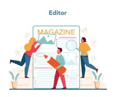 Magazine editor concept. Journalist and designer working Ilustração Vetorial