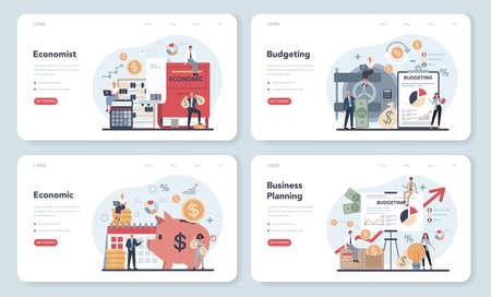 Economist concept. Budgeting web banner or landing page set.