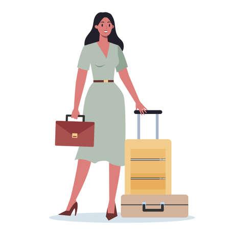 Business person having a business trip. Female character walking Vecteurs