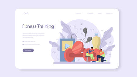 Fitness trainer web banner or landing page. Workout in the gym