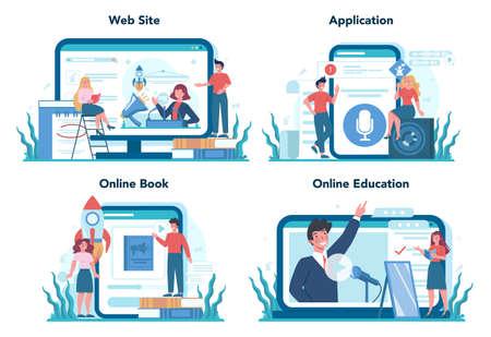 Rhetoric or elocution specialist online service or platform set. Illustration