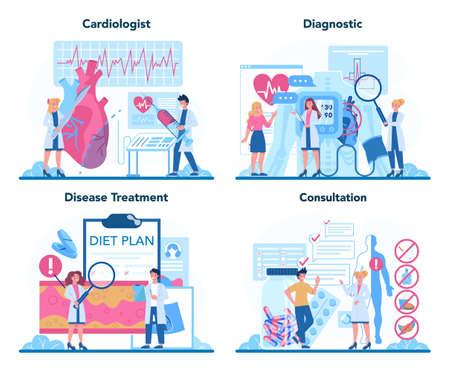 Cardiologist concept set. Idea of heart care and medical diagnostic