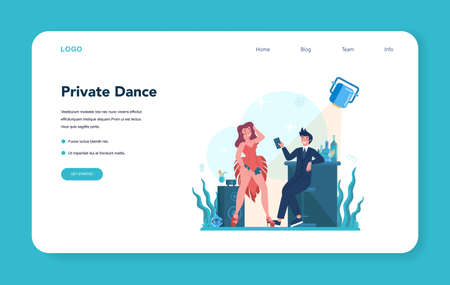 Female stripper web banner or landing page. Pole dancing girl Ilustrace