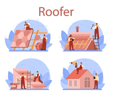 Roof construction worker set. Building fixing and house renovation.