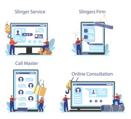 Slinger online service or platform set. Professional workers