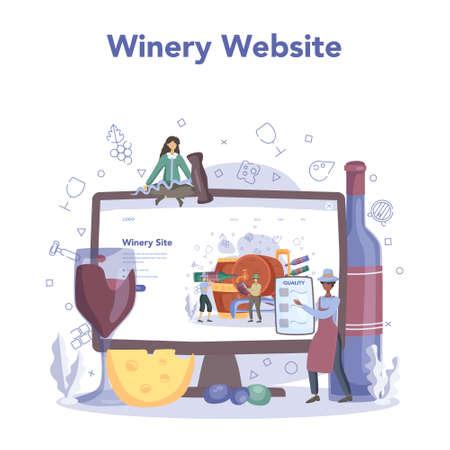 Wine maker online service or platform. Grape wine in a wood barrel 일러스트