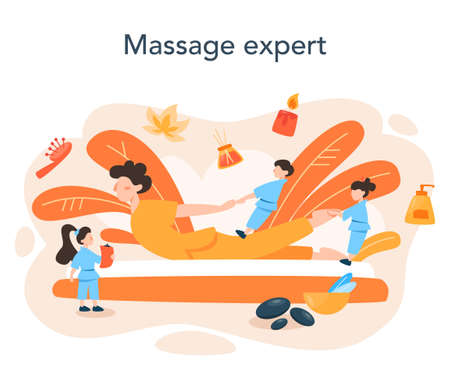 Massage and masseur concept. Spa procedure in beauty salon. Ilustrace