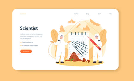 Volcanologist web banner or landing page. Geologist studying