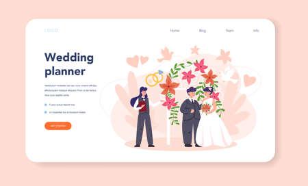 Wedding planner web banner or landing page. Professional Ilustração