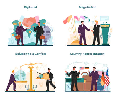 Diplomat profession set. Idea of international relations and government