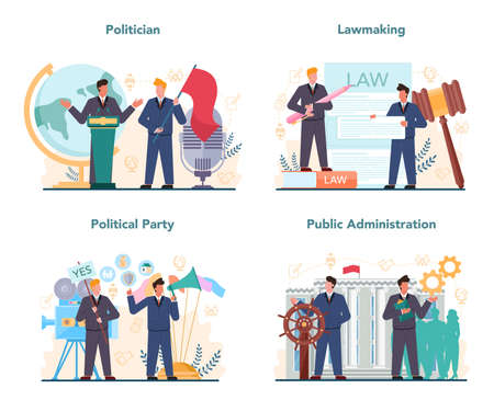 Politician concept set. Idea of election and governement. Illustration