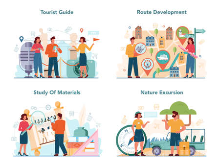 Tour vacation guide concept set. Tourists listening to the history