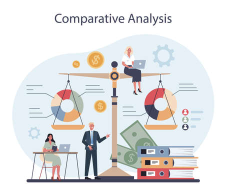 Financial analyst or consultant. Business character making financial operation Vectores