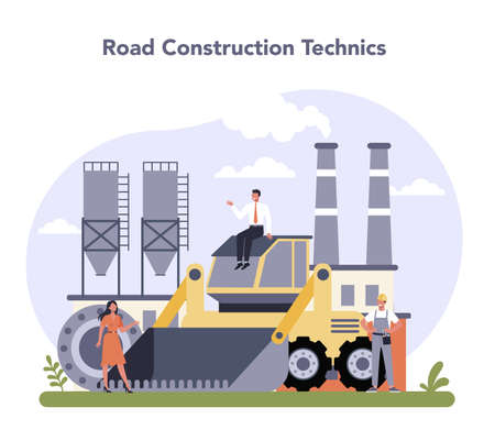 Construction and engineering industry. Road constraction technic. Stock Illustratie