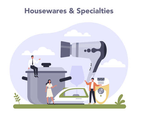 Consumer durables production. Houseware electronics, furniture and homebuilding Illustration