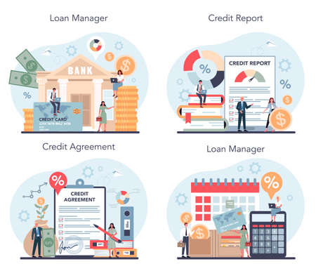 Loan manager concept set. Bank employee that work with credit