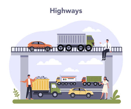 Transportation infrastructure sector of the economy. Highway logistic,