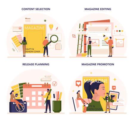 Magazine editor concept set. Journalist and designer working on magazine