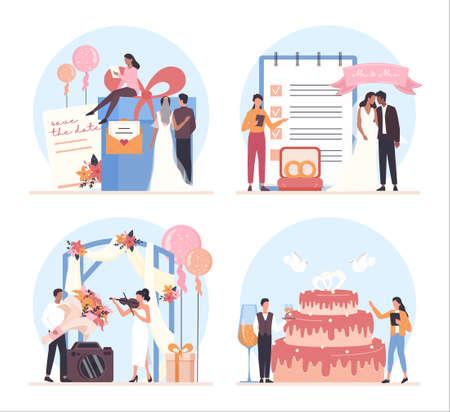 Wedding planner concept set. Professional organizer planning