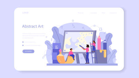 Art school education web banner or landing page. Student