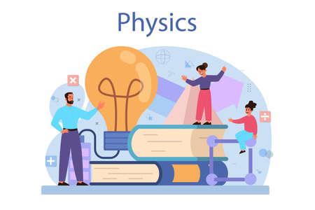 Physics school subject concept. Scientist explore electricity,