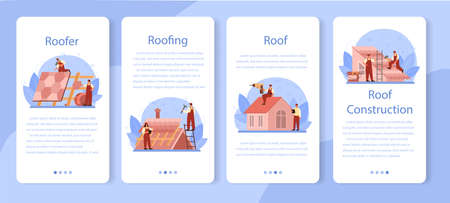 Roof construction worker mobile application banner set. Building