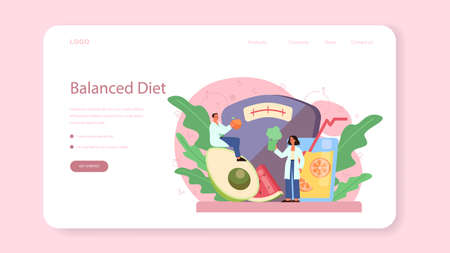 Nutritionist web banner or landing page. Diet plan with healthy food
