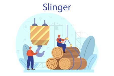 Slinger. Professional workers of constructing industry slinging