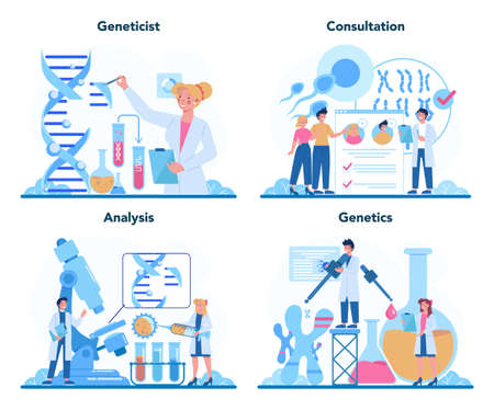 Geneticist concept set. Medicine and science technology. Scientist