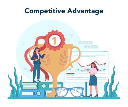 Competitive advantage. Advertising and marketing concept. Business Ilustración de vector