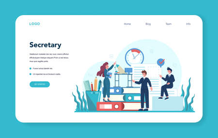 Secretary web banner or landing page. Receptionist answering