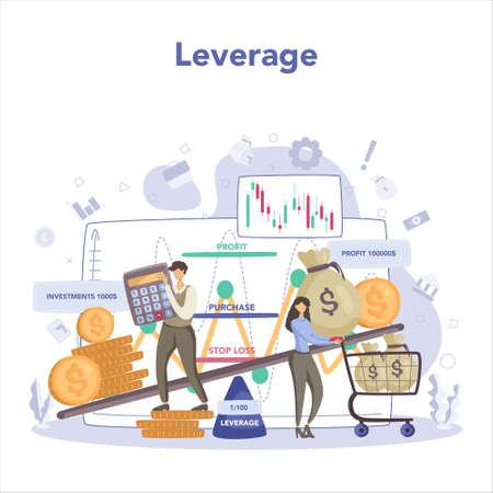 Trader, financial investment concept. Stock market leverage, Vector Illustratie