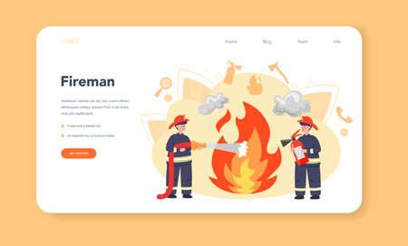 Fireman web banner or landing page. Professional fire brigade Ilustración de vector