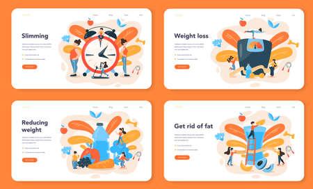 Slimming specialist web banner or landing page set. Diet, plan, Illustration