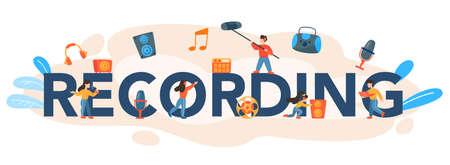 Recording typographic header. Music production industry, sound Illusztráció