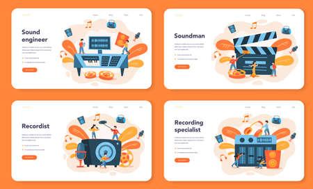 Sound engineer web banner or landing page set. Music production Illusztráció