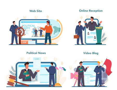 Politician web banner or landing page set. Idea of election and governement Illustration