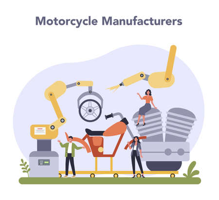 Motorcycle production industry. Vehicle part on the machinery line