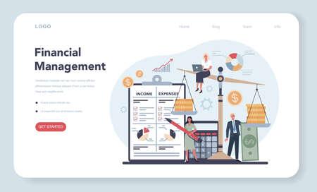 Financier web banner or landing page concept. Business character
